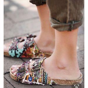 FP BALI BOHO MULTI COLORED FOOTBED SANDALS BIRKS 9